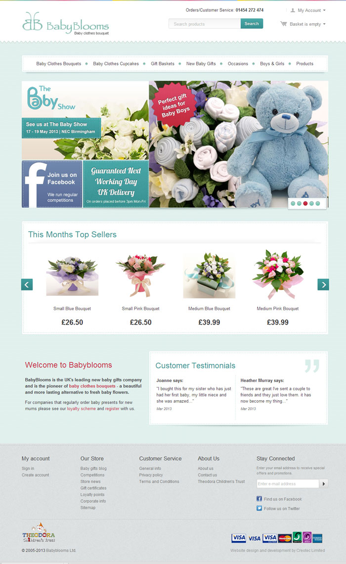 Babyblooms freelance web design berkshire